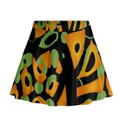 Abstract Animal Print Mini Flare Skirt