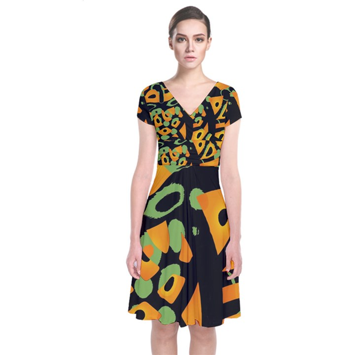 Abstract animal print Short Sleeve Front Wrap Dress
