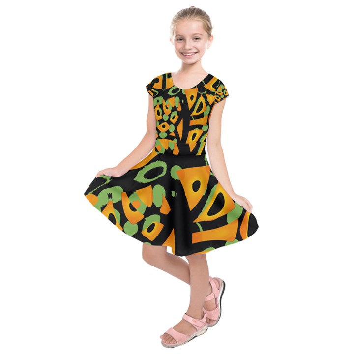 Abstract animal print Kids  Short Sleeve Dress