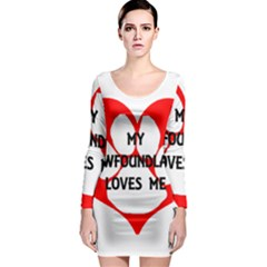 My Newfie Loves Me Long Sleeve Bodycon Dress