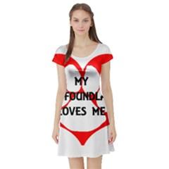 My Newfie Loves Me Short Sleeve Skater Dress