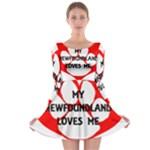 My Newfie Loves Me Long Sleeve Skater Dress