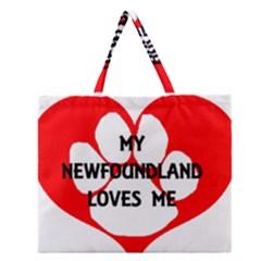 My Newfie Loves Me Zipper Large Tote Bag