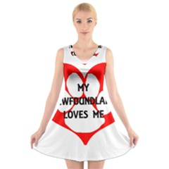 My Newfie Loves Me V-Neck Sleeveless Skater Dress