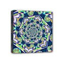 Power Spiral Polygon Blue Green White Mini Canvas 4  x 4  View1