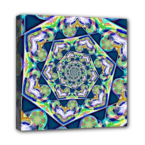 Power Spiral Polygon Blue Green White Mini Canvas 8  X 8