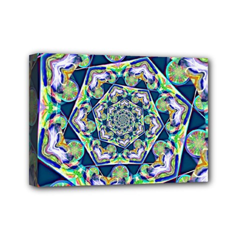 Power Spiral Polygon Blue Green White Mini Canvas 7  X 5