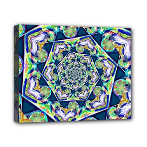 Power Spiral Polygon Blue Green White Canvas 10  X 8