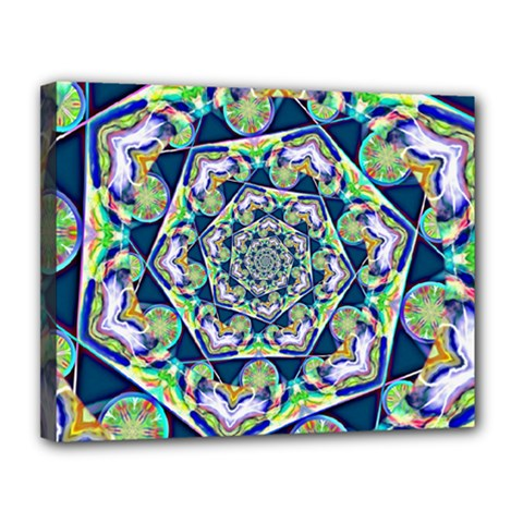 Power Spiral Polygon Blue Green White Canvas 14  X 11