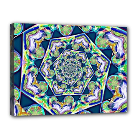 Power Spiral Polygon Blue Green White Canvas 16  X 12