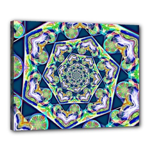 Power Spiral Polygon Blue Green White Canvas 20  X 16