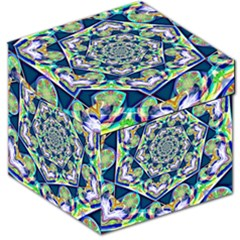 Power Spiral Polygon Blue Green White Storage Stool 12