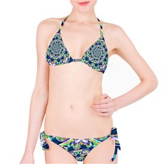 Power Spiral Polygon Blue Green White Bikini Set