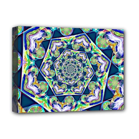 Power Spiral Polygon Blue Green White Deluxe Canvas 16  X 12   by EDDArt