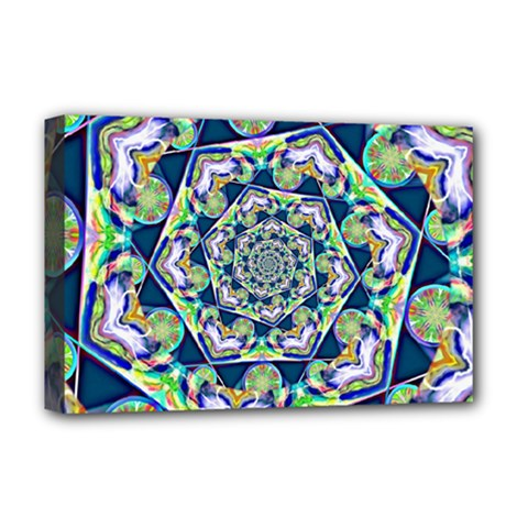 Power Spiral Polygon Blue Green White Deluxe Canvas 18  X 12   by EDDArt