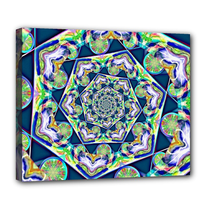 Power Spiral Polygon Blue Green White Deluxe Canvas 24  x 20