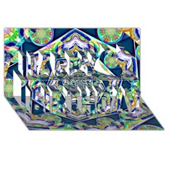 Power Spiral Polygon Blue Green White Happy Birthday 3d Greeting Card (8x4)