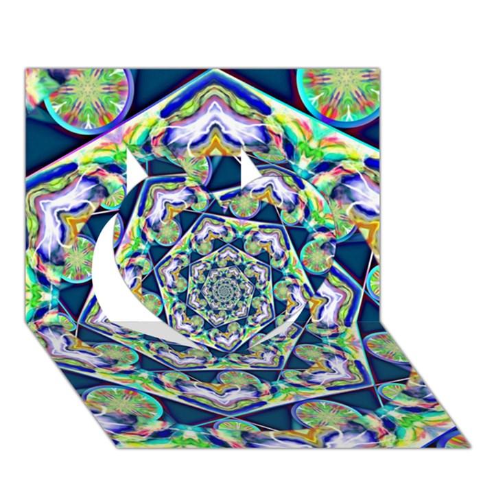 Power Spiral Polygon Blue Green White Heart 3D Greeting Card (7x5)