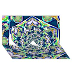Power Spiral Polygon Blue Green White Twin Hearts 3d Greeting Card (8x4)