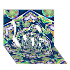 Power Spiral Polygon Blue Green White Love 3d Greeting Card (7x5) by EDDArt