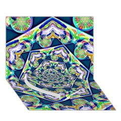 Power Spiral Polygon Blue Green White Heart Bottom 3d Greeting Card (7x5)