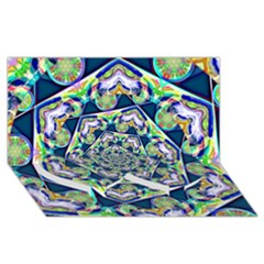 Power Spiral Polygon Blue Green White Twin Heart Bottom 3d Greeting Card (8x4)