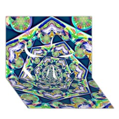 Power Spiral Polygon Blue Green White Clover 3d Greeting Card (7x5) by EDDArt
