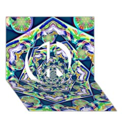 Power Spiral Polygon Blue Green White Peace Sign 3d Greeting Card (7x5) by EDDArt