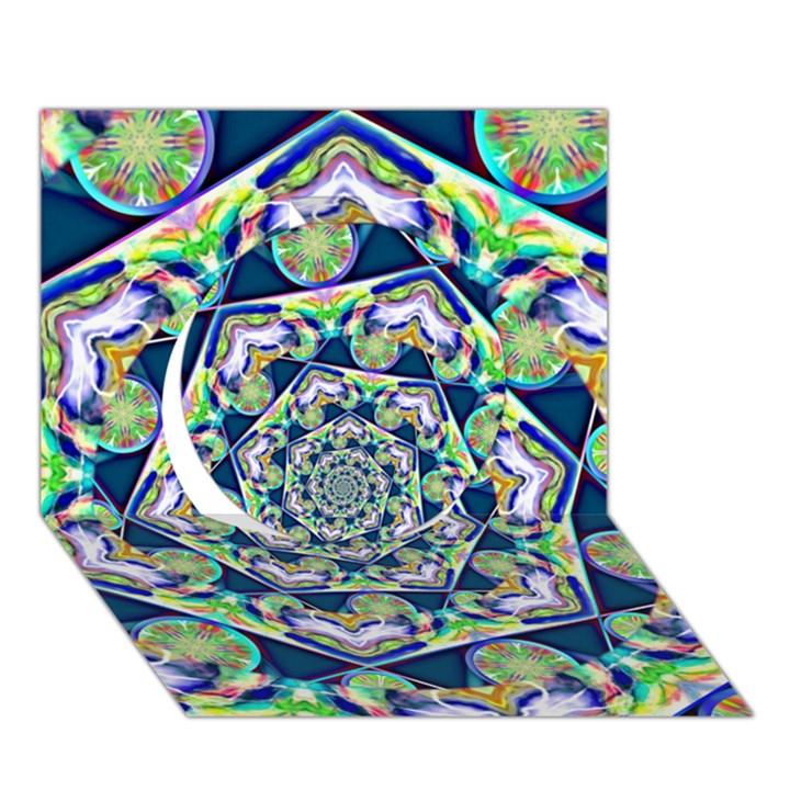 Power Spiral Polygon Blue Green White Circle 3D Greeting Card (7x5)