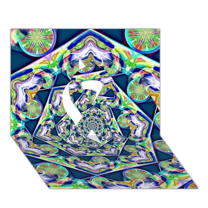 Power Spiral Polygon Blue Green White Ribbon 3D Greeting Card (7x5)