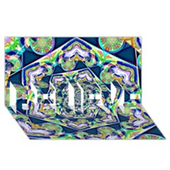 Power Spiral Polygon Blue Green White Believe 3d Greeting Card (8x4)