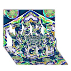 Power Spiral Polygon Blue Green White Take Care 3d Greeting Card (7x5)