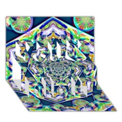 Power Spiral Polygon Blue Green White You Did It 3d Greeting Card (7x5)