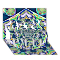 Power Spiral Polygon Blue Green White Get Well 3d Greeting Card (7x5)