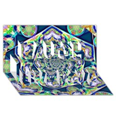 Power Spiral Polygon Blue Green White Laugh Live Love 3d Greeting Card (8x4)