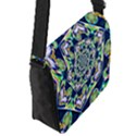 Power Spiral Polygon Blue Green White Flap Messenger Bag (S) View2