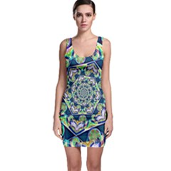 Power Spiral Polygon Blue Green White Sleeveless Bodycon Dress
