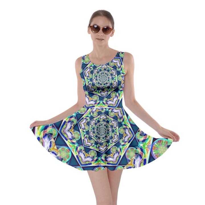 Power Spiral Polygon Blue Green White Skater Dress