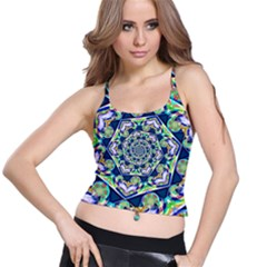 Power Spiral Polygon Blue Green White Spaghetti Strap Bra Top