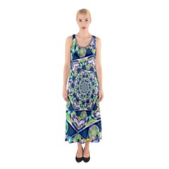 Power Spiral Polygon Blue Green White Sleeveless Maxi Dress