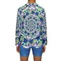 Power Spiral Polygon Blue Green White Kids  Long Sleeve Swimwear View2
