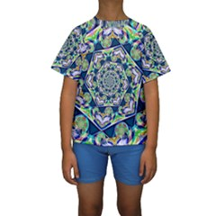 Power Spiral Polygon Blue Green White Kids  Short Sleeve Swimwear