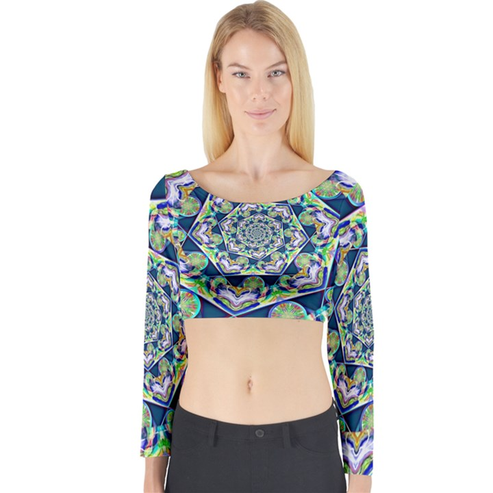 Power Spiral Polygon Blue Green White Long Sleeve Crop Top