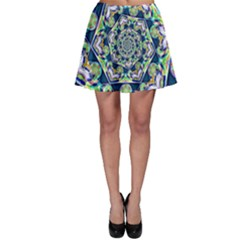 Power Spiral Polygon Blue Green White Skater Skirt by EDDArt