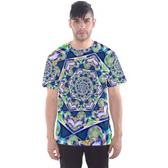 Power Spiral Polygon Blue Green White Men s Sport Mesh Tee