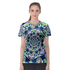 Power Spiral Polygon Blue Green White Women s Sport Mesh Tee