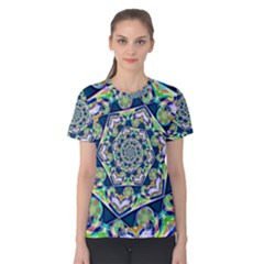 Power Spiral Polygon Blue Green White Women s Cotton Tee