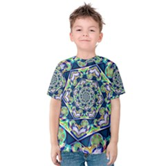 Power Spiral Polygon Blue Green White Kids  Cotton Tee