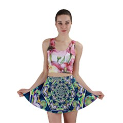 Power Spiral Polygon Blue Green White Mini Skirt