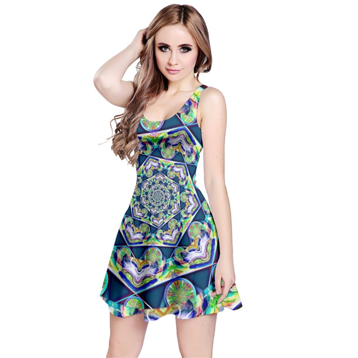 Power Spiral Polygon Blue Green White Reversible Sleeveless Dress
